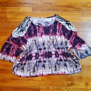 Avenue pink purple tie dye open shoulder Top 5X